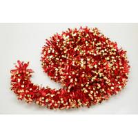 Мишура новогодняя красная с золотом 9*200см 16503