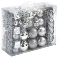 Набор елочных игрушек Actuel, серебряный, 80шт