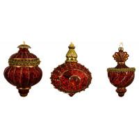 Набор из стеклянных ёлочных игрушек Decoris, красный,