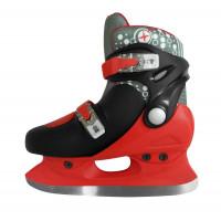 Коньки детские раздвижные, красно черные, размер S