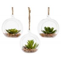 Растение искусственное Decoris «Суккулент» в стеклянном кашпо,