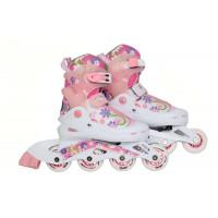 Коньки роликовые раздвижные, розовые, размер S