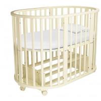Детская кроватка трансформер «Золушка», круглая/овальная, с маятником,
