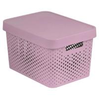 Коробка Curver Infinity перфорированная с крышкой, розовая,