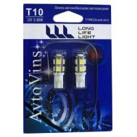 Светодиод 12V T10 9SMD W2.1х9,5DW
