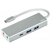 Разветвитель Hama Aluminium USB C, 3 порта+jack