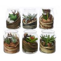 Растение искусственное Decoris в стеклянном  кашпо,