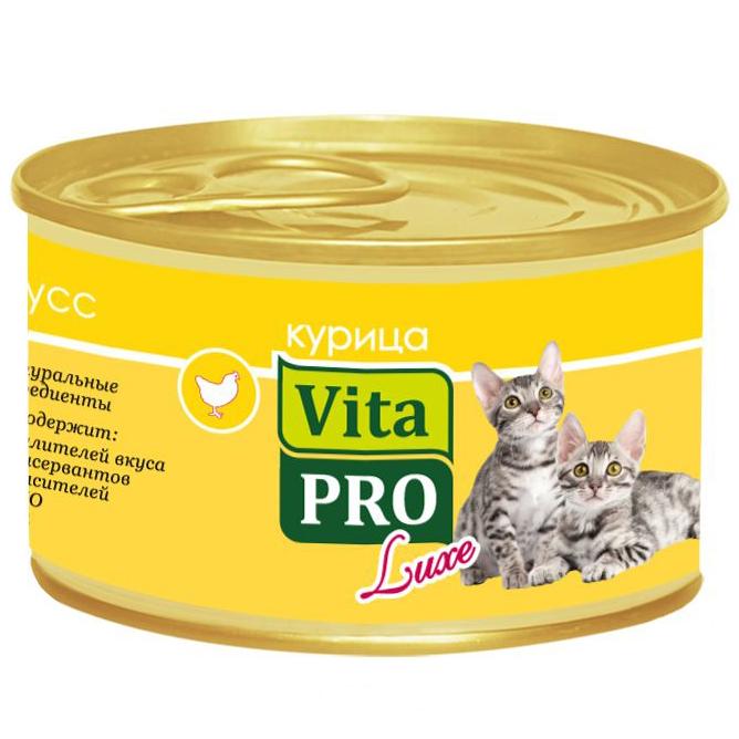 Корм для котят VitaPRO Luxe курица мусс конс. 85г