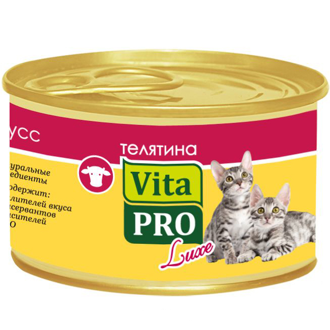Корм для котят VitaPRO Luxe телятина мусс конс. 85г