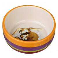 Миска для кроликов TRIXIE керамическая, разноцветная/кремовая 11см
