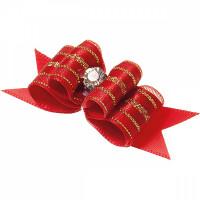 Бантик V.I.PET Ностальжи (пара) красный, тройной объёмный