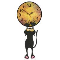 Часы настенные, Кот с коготками, d29 см, дерево
