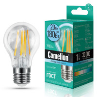 Лампа светодиодная FIL E27 20W груша Camelion
