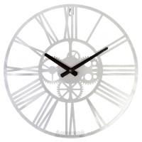 Часы металлические HOME DECOR, серебристые, с крупными римскими