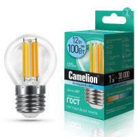 Лампа светодиодная FIL E27 12W шар Camelion
