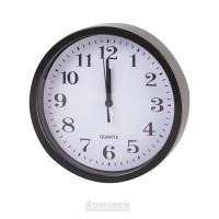 Часы настенные Круг, d20см, пластик, черный