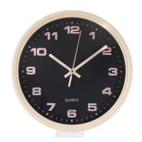 Часы настенные, Круг 6821, d25,5см, пластик, бежевый, черный