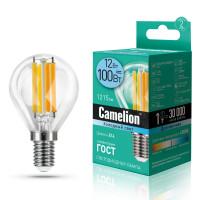 Лампа светодиодная FIL E14 12W шар Camelion