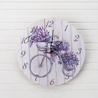 Часы настенные, Лаванда, d29см, дерево