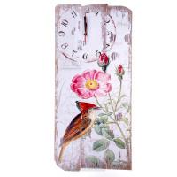 Часы Коричневая птичка, размер: 60х24см, с панно, дерево