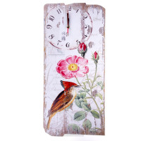 Часы Коричневая птичка, размер: 60х24см, с панно,