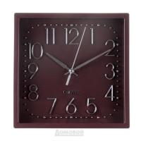 Часы настенные, Квадрат 6518, 20х20 см, пластик, коричневый