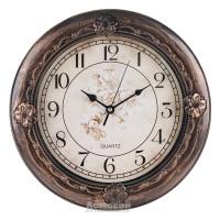 Часы настенные, Круг Цветы 6932, d30,5см, пластик, коричневый