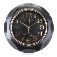 Часы настенные, Круг граненый 6575, пластик, черный