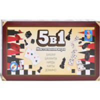 Игра настольная 5в1 1 Toy ''Шашки/шахматы/нарды/карты/домино''