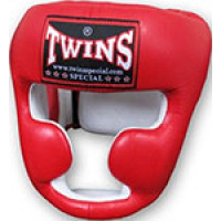 Шлем боксерский Twins (кожа) (красный) размер