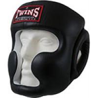Шлем боксерский Twins (кожа) (черный) размер