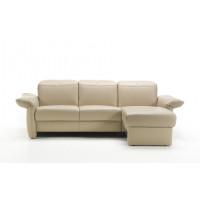 Угловой диван с кушеткой Zelos молочного цвета