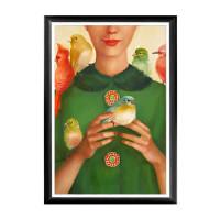 Арт постер птицы счастья в раме