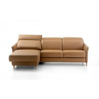 Угловой кожаный диван с кушеткой Minerva коричневого