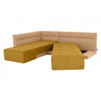 Угловой диван кровать London бежево горчичного цвета