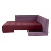 Угловой диван кровать London фиолетово бордового цвета