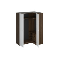 Шкаф Uno угловой правый коричнево белого цвета