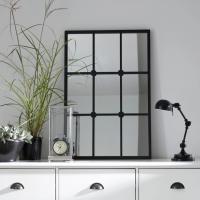 Настенное зеркало Lenaig в металлической раме черного