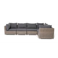 Трансформирующийся диван лунго с подушками серого цвета