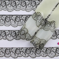 Мода черный цветочные кружева ногтей искусство наклейка