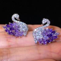 Элегантный серебряный цвет желтый фиолетовый камень Лебедь