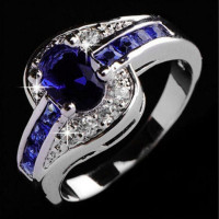 1 pc женщин мода синий кольцо ювелирные