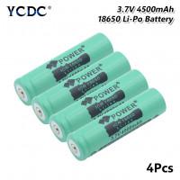 4Pcs 18650 Литий аккумулятор перезаряжаемые 4500mAh 3.7V