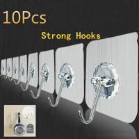 10Pcs Wall Крючки многоразовые клей тяжелый долг