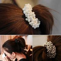 Мода женщин искусственный жемчуг бусины волосы группы