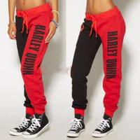 Женские спортивные брюки из полиэстера, в красно