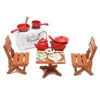 Пластиковые обеденные стулья стол с кулинарии инструменты