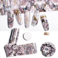 Красота, DIY мраморные оболочки дизайн ногтей Фольга