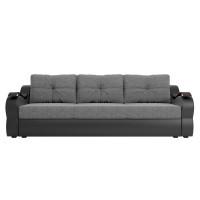 Прямой диван Меркурий еврокнижка Рогожка Серый/Черный