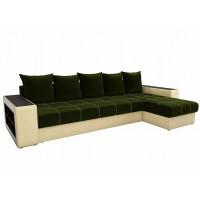 Угловой диван Дубай правый микровельвет Зеленый Бежевый